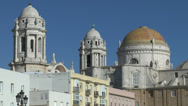 Stock Video Footage of The Cupola of Cadiz Cathedral (Catedral Nueva) Cadiz, Andalusia, Spain.