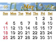 calendar for may of 2014 with lily of the valley - stock illustration