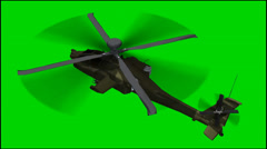Stock Video Footage of Helicopter Boeing AH- 64 Apache in fly - isolated green screen footage