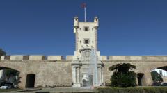 The Old City Gate, Puerta De Tierra, Cadiz, Andalusia, Spain. Stock Footage