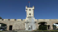 Stock Video Footage of The Old City Gate, Puerta De Tierra, Cadiz, Andalusia, Spain.