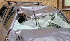 Crushed SUV - stock photo