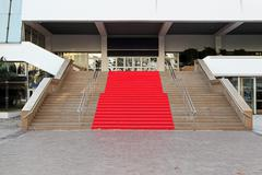 red carpet in cannes - stock photo