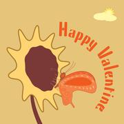 unconventional valentine's card with butterfly and flower - stock illustration