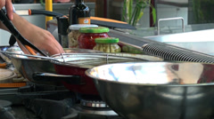Rapid preparation of the chicken in oil Stock Footage