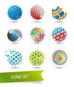 Sphere icon set Stock Illustration
