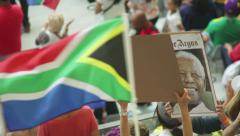 FLAG WAVING CAPE TOWN STADUIM MANDELA MEMORIAL Stock Footage