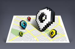 Map pointer cursor icon with city map vector illustration Stock Illustration