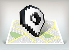 City map with pointer cursor icon vector illustration Stock Illustration
