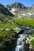 Mountain river source Stock Photos