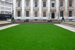 trimmed green lawn - stock photo