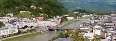 panorama of salzburg - stock photo