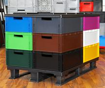 Color plastic crates Stock Photos