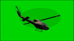 Helicopter Bell UH-1 fly - green screen footage Stock Footage