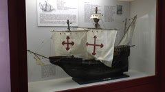 Model of the Santa Maria, Wharf of the Caravels, Huelva, Andalusia, Spain. Stock Footage