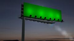 Billboard at night  - green screen footage Stock Footage