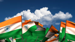 Waving Indian Flags Stock Footage