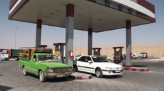 Petrol station in remote desert area Iran Stock Footage