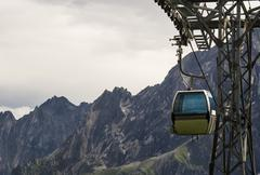 Aerial cableway in the alps Stock Photos