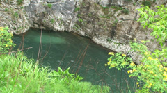 Stone falling into river at canyon Stock Footage