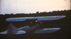 Vintage 8mm film ,bi plane Stock Footage