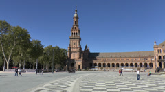 Pan acroiss the Plaza de España in Seville, Andalusia, Spain. Stock Footage