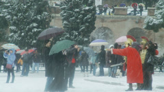 Gladiators pose for tourists - Rome in snow 27 Stock Footage