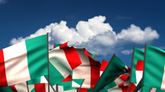 Waving Italian Flags Stock Footage