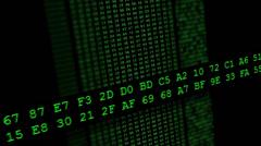 Hexadecimal code running up a computer screen. Green digits. Stock Footage