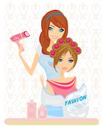 Stock Illustration of woman has dried hair in a beauty salon
