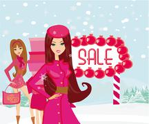 Beautiful girls on winter shopping Stock Illustration
