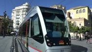 Stock Video Footage of A MetroCentro tram in Seville, Andalusia, Spain.