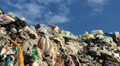 Garbage at landfill - mountain of garbage. Footage