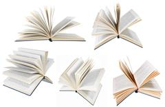 Stock Illustration of set from different angles blue cover open books