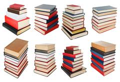 set from different angles stacks of books - stock illustration