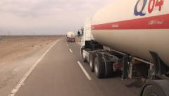 Iran, gas trucks, petrol, fuel, transportation, highway Stock Footage