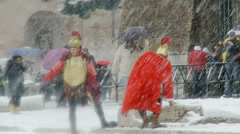 Rome in snow 24 (Gladiators) Stock Footage