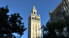 The Giralda, Seville Cathedral (Catedral), Seville, Andalusia, Spain. Stock Footage