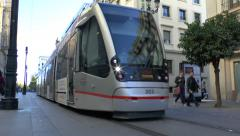 A MetroCentro tram (with audio) in Seville, Andalusia, Spain. Stock Footage