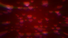 Valentine's day loopable abstract background, flying hearts Stock Footage