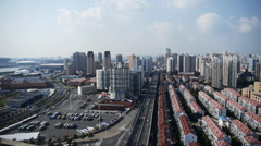 Time lapse,shanghai traffic,urban building background,china. Stock Footage