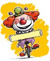 Clown on unicycle holding a label Stock Illustration