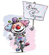 clown on unicycle .holding a baby shower placard - stock illustration