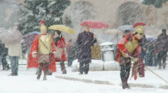 Rome in snow 23 (Gladiators) Stock Footage