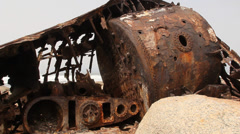 Machine details of ship wreck, South Africa 14 Stock Footage