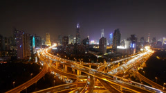 time lapse of freeway busy city rush hour heavy traffic jam highway at night. - stock footage
