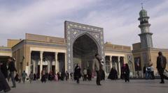 Entrance to Hazrat-e Masumeh shrine in Qom, Iran Stock Footage