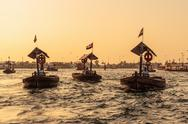 Stock Photo of traditional abra ferries on november in dubai