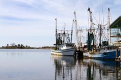 docked shrimpers boats - stock photo