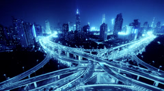 Time lapse of freeway busy city rush hour heavy traffic jam highway at night. Stock Footage
